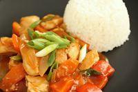 Sur/sød kylling med grøntsager, recipe in danish