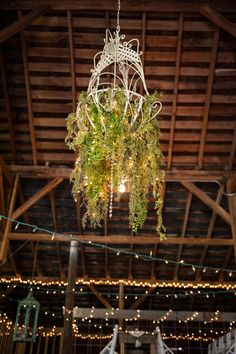 Rustic white chandelier with crystal beading, string lights, and natural greenery