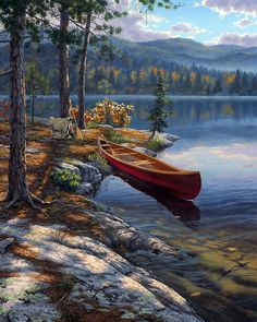 """Time Well Spent"" by Darrell Bush ~ camping canoe lake"