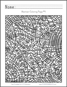 abstract coloring page 4 free to print pdf file curved checkerboard abstract coloring pagesschool projectsmiddle