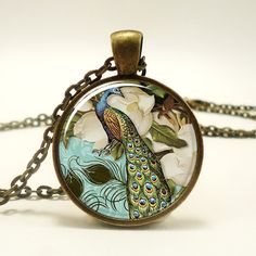 Victorian Style Peacock Jewelry Glass Art Pendant, $14.45