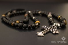 Mens Natural Stone Necklace Cross Pendant by CruxCrystals on Etsy