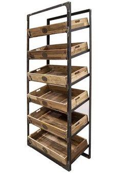 Resultado de imagen para muebles con huacales de madera Bakery Shop Design, Cafe Design, Restaurant Design, Store Design, Bread Display, Bakery Display, Coffee Shop, Vegetable Shop, Supermarket Design