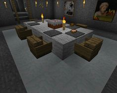Minecraft Dining Table An inviting centrepiece for your abode. This Arrangement uses 6 Explorer Chairs to surround a basic table with Placemats (Stone Pressure plates) for effect. White Wool Blocks are used to simulate a table cloth to minimise the effect of chairs not having leg room. Perfect for your next dinner party! View the making of: A sunny, quiet reading area on the edge of the family room. Featuring a Meridian Sofa. Back to the Top