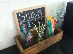 Drink station. Straw storage. Kitchen chalkboard. Mason jar storage//Designs by Shelb