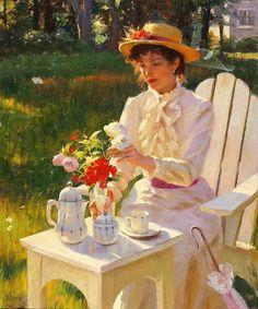 Femme faisant un bouquet de fleurs dans le jardin - image animée