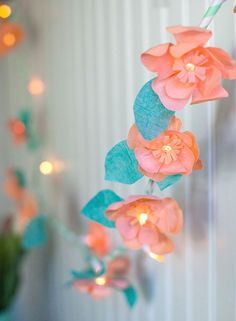 DIY crepe paper flower lights + pastel Easter baskets, featured in Carousel Party magazine {Handcrafted Parties | photos by Lia Griffith}