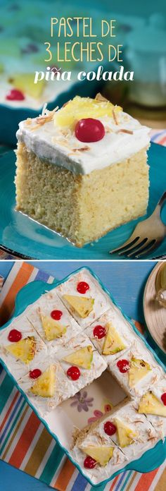 Hornea y decora este delicioso pastel de 3 leches de piña colada, preparada a base de leche evaporada, crema de coco y jugo de piña con un toque divertido de ron.