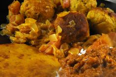 Benin:  Akkra Funfun- Tasty combination of white beans, peanut sauce over rice and chicken meatballs with red sauce