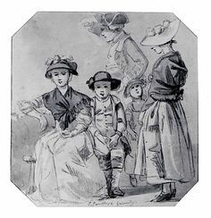 Paul Sandby (1730-1809) Thomas Sandby and his family. c1765. Brush and brown ink. 13x12 cms. (Met)