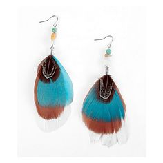 Daytrip Feather & Bead Earring ($6.70) ❤ liked on Polyvore