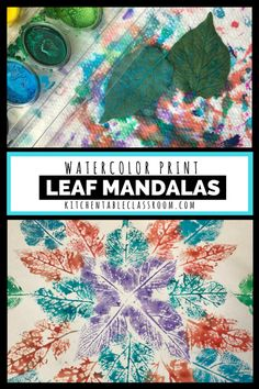 Leaf prints with water colors