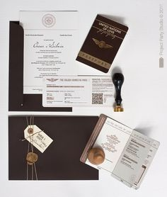 Great passport to love wedding invites with boarding pass (QR code for smart phones is cute addition)