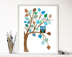 owl nursery art art print Owl on a Tree watercolor owl