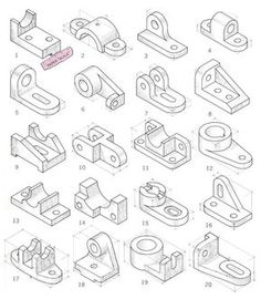 Isometric Sketch, Isometric Art, Isometric Drawing Exercises, Cad 3d, Orthographic Drawing, Drafting Drawing, Interesting Drawings, Visual Communication Design, Sketching Techniques