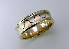 Yellow, white and rose gold gents' wedding band
