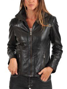 Women Stylish slim fit front zip Lambskin Bomber Biker leather jacket WJ365 #Handmade #BasicJacket