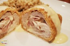 Chicken Cordon Bleu.. I'll use a Turkey Ham and my own reduced Stock, instead of the Salty Bouillon Cube... but this will be on the menu soon!