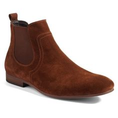 Men's The Rail Brysen Chelsea Boot ($110) ❤ liked on Polyvore featuring men's fashion, men's shoes, men's boots, rust suede, mens leather boots, mens leather chelsea boots, mens chelsea boots, mens boots and mens leather shoes
