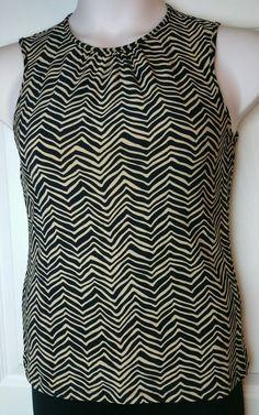 Chaps by Ralph Lauren sleeveless top pattern Size Medium M black tan EUC #Chaps #Blouse