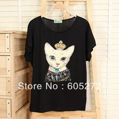 meow cat printed acrylic stones summer casual fashion womens short-sleeved T-shirt wholesale students top tees blouse free shipping $12.65