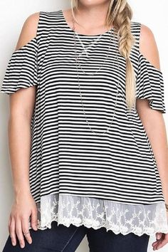 So cute for the spring! Plus Size Cold Shoulder Top