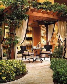Outdoor Pergola Terrace - Patio Pergola Designs - - Corner Pergola With Hammock - - Pergola Terrasse Design Outdoor Areas, Outdoor Rooms, Outdoor Living, Outdoor Decor, Terrasse Design, Patio Design, Pergola Designs, Backyard Patio, Backyard Landscaping