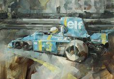 """P34"", Jody Scheckter, 1976 Tyrrell P34. Oil on watercolour paper, 16""x11"" by Dan Binns."