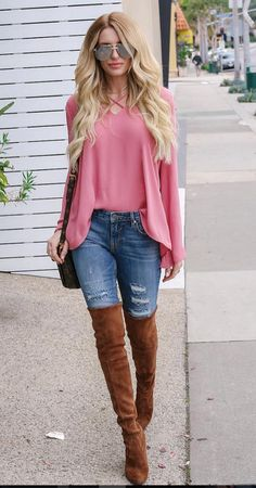 Pink cross front blouse, skinny eans, and OTK boots. Beauty on High Heels #Fashion
