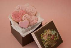 Fondant heart cookies in a box