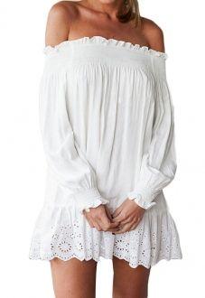 White Off-the-shoulder Long Sleeve Hollowed Hem Loose Dress nextshe.com