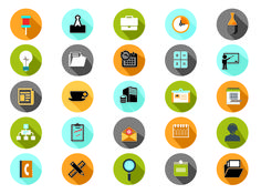 FLAT WEB ICONS Office and business 01 01