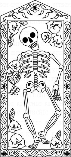 Color Your Own Day of the Dead Dancing Skeleton Digital Picture. $1,75, via Etsy.