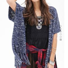 Marled Kimono/Wrap/Poncho Sweater Marled open sweater with fringe, perfect condition Forever 21 Sweaters