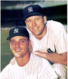 Today Mickey Mantle & Roger Maris become the first teammates to each hit 50 HR's in the same season! New York Yankees Baseball, Yankees Fan, Sports Baseball, Baseball Players, Baseball Ring, Baseball Wall, Baseball Photos, Baseball Cards, America's Favorite Pastime