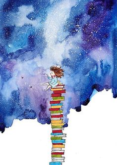 A Tiny Book Lover by MankaKasha zeichnung Art And Illustration, Watercolor Illustration, Watercolor Books, Watercolor Paintings, Watercolour Drawings, Watercolours, Art Du Croquis, Art Mignon, Inspiration Art