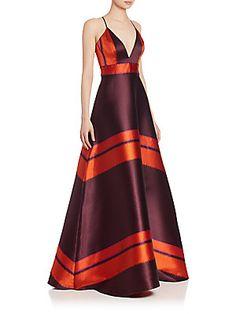 Badgley Mischka Striped High-Low Gown