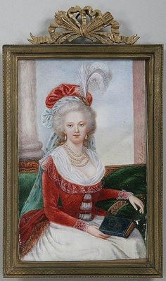 A miniature watercolor of Marie Antoinette, after a portrait by Elisabeth Vigee-Lebrun. Circa 19th century.