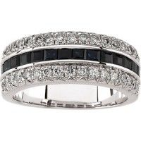 Diamonds and Sapphire 14K white gold band. Sapphire are princess cut are set in channel setting. Diamonds are all set in four prongs with total weight of 0.50 Carat.