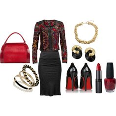 """Red and Black Business Suit"" by martha-hill-carter on Polyvore"