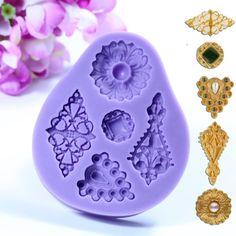 3d muffa epoca silicone di monili in rilievo decorazione di una torta strumento muffa del cioccolato fondente gioielli su Banggood