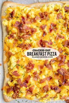 Cracked Out Breakfast Pizza loaded with cheddar, bacon and Ranch! Easy enough for a weekday breakfast Refrigerated pizza crust topped with ranch dressing, scrambled eggs, bacon and cheddar cheese We love this for breakfast, lunch and di - p Breakfast Buffet, Breakfast Items, Breakfast Pizza Recipes, Bacon Breakfast Casserole, Breakfast Bake, Chicken Breakfast, Breakfast For Dinner, Breakfast Pizza Recipe With Crescent Rolls, Caseys Breakfast Pizza