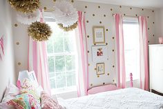Adorable little girl room in pink and gold. Classic decorating that will last for more than one phase.