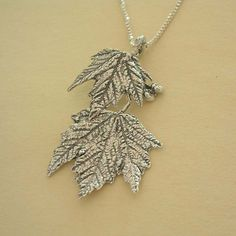 Maple leaf necklace nature jewelry sterling by stratussilver