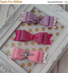 SALE Lilac Purple Pink Baby Bow Set Glitter Sparkle Hair Bow Pink Glitter Clip Handmade Headband Baby Photo Prop Toddler Wool Felt Mini Hair