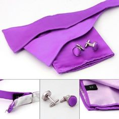 Purple Silk Bow Ties For Men Handkerchiefs Cufflinks for wedding With Gift Box BT1024 One Size medium purple Pointe. $14.95