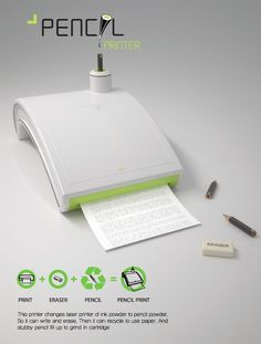 Printer that prints in pencil powder, completely erasable.