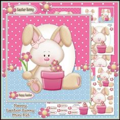 Happy Easter Bunny Mini Kit by Karen Wyeth A gorgeous little mini kit containing a Happy Easter Bunny Card topper with decoupage items, sentiment panel toppers, floral embellishments and gift tag toppers. A matching insert panel section and bonus paper print section are also included. xk