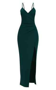 Head online and shop this season's range of maxi dresses at PrettyLittleThing. Emerald Prom Dress, Emerald Green Bridesmaid Dresses, Summer Bridesmaid Dresses, Pretty Prom Dresses, Wrap Front Dress, Wrap Dress Floral, Wrap Dresses, Bride Dresses, Ball Dresses
