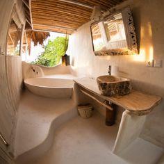 Bathroom Decor spa Towel bar from wood branch Outdoor Bathrooms, Dream Bathrooms, Adobe Haus, Earthship Home, Mud House, Tadelakt, Natural Homes, Earth Homes, Natural Building